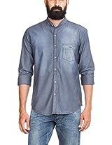 Zovi Cotton Regular Fit Grey Denim Shirt With Scrap Effect - Full Sleeves (10365380301_39)