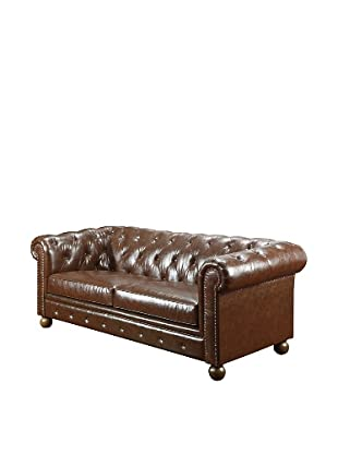 Armen Living Winston Bonded Leather Vintage Sofa, Mocha