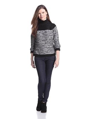 525 America Women's Colorblock Sweater (Black Combo)