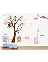 Giant Jungle Animals Under the Colorful Owl Tree Nursery Wall Decal Giraffe/lion/owls/zebra/monkey/elephant Kids Baby Bedroom Wall Art Mural Sticker -By Colowal