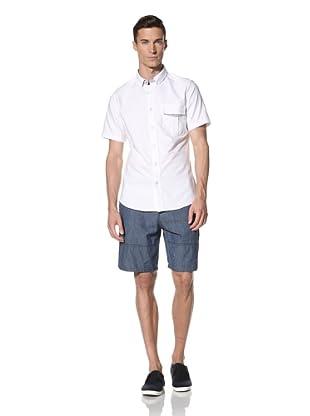 White Picket Fences Men's Angelo Oxford Short Sleeve Shirt (White/Blue)