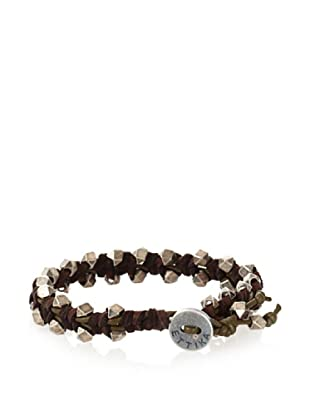Ettika Men's Brown/Green Pyramid Bead Bracelet