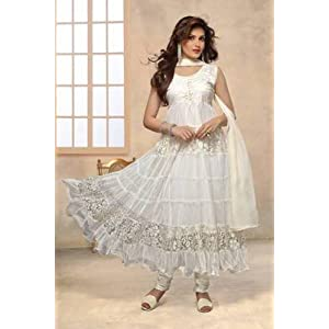 White designer hot long anarkali suit by fabfiza