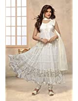 Designer White Net & Brasso Semi Stitched Anarkali Suit
