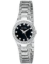 Bulova Crystal Analog Black Dial Women's Watch - 96L170