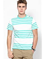 Striped Aqua Blue Round Neck T-Shirt American Swan