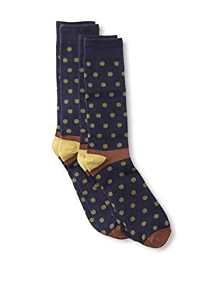 Florsheim by Duckie Brown Men's Polka Dot Socks, 2-pack (Navy)