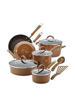 Rachael Ray 12-Piece Cucina Porcelain Enamel Nonstick Cookware Set, Mushroom Brown