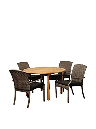 Amazonia Teak Alton 5-Piece Wicker Round Dining Set with Cushions, Brown/Grey
