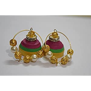 Quillings by SSE - Tri Colour Jumka Earring