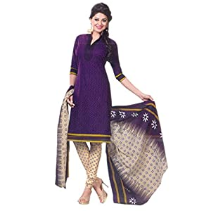 SGC- Blue cotton unstitched churidar kameez with dupatta - SH-11505