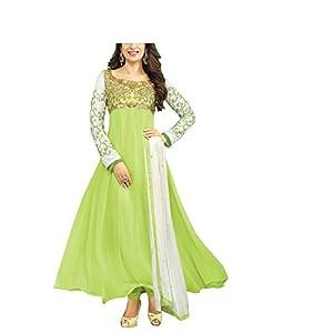 Vibes Women Georgette Salwar Suit Dress Material (V54-30008 _Green _Free Size)
