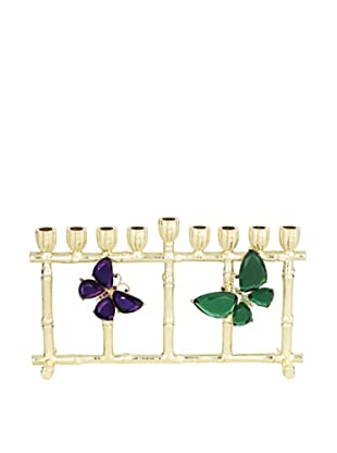 Olivia Riegel Butterfly Menorah with Hand-Set Emerald and Amethyst Swarovski Crystals and Glass Gems