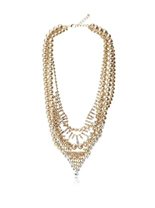 Chloe & Theodora Multi-Strand Peach Simulated Pearl and Cubic Zirconia Necklace