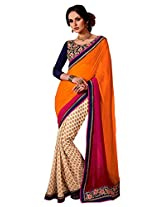 Faux Georgette White & Pink/Orange Colour Saree for Party Wear