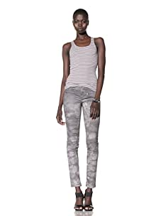 L.A.M.B. Women's Striped Rib Racer Back Tank (Medium Grey/Rose Smoke)