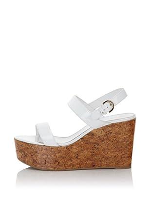 """Sergio Rossi Women's 4"""" Patent Cork Sandal (White)"""