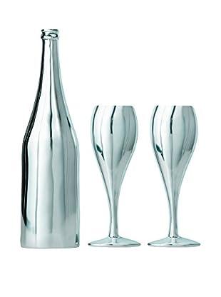 Torre & Tagus Set of 3 Aluminum Wine Bottle & Goblets Wall Décor
