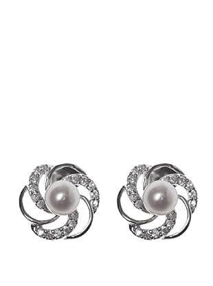 Silver One Pendientes Flor Perla Circonita