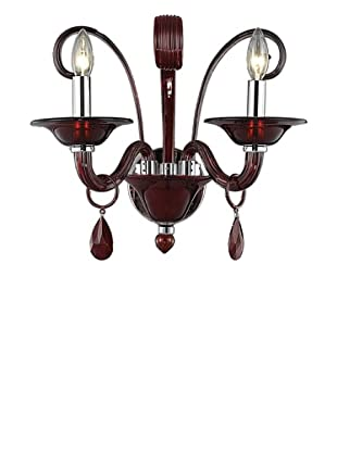 Crystal Lighting Muse Wall Sconce, Red/Royal Cut Bordeaux (Red) Crystals, Dia 16