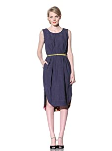 Chris Benz Women's Mia Sleeveless Shift Dress with Floral Trim (Indigo)