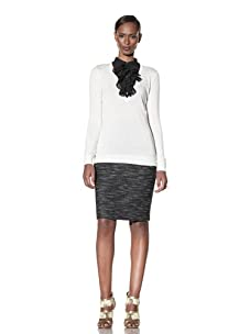 Moschino Cheap and Chic Women's V-Neck Sweater with Ruffle Chiffon Collar (Ivory/Black Contrast)