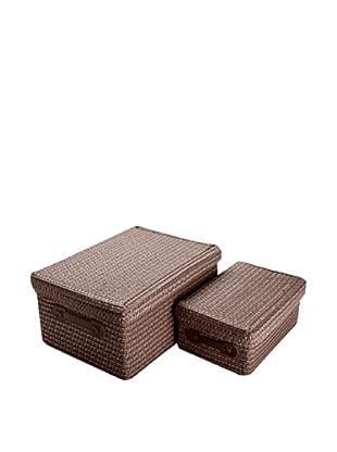 Zings Set De 2 Cajas Rectangulares Chocolate