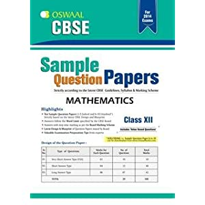 Oswaal CBSE Sample Question Papers: Mathematics for Class 12