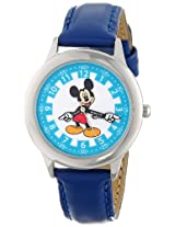 Disney Kids W000242 Mickey Mouse Stainless Steel Time Teacher Watch with Blue Leather Band