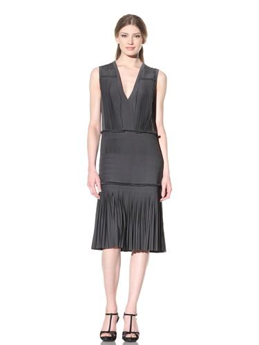 Vera Wang Women's Pleated Jersey V-Neck Dress (Charcoal)