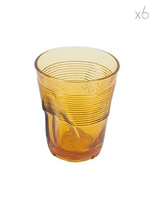 Kaleidos Set 6 Bicchieri Accartocciati 360 ml (Ambra)
