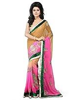 Utsav Fashion Women's Shaded Beige and Pink Faux Chiffon Saree with Blouse