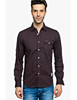 Coffee Solid Regular Fit Casual Shirt Status Quo