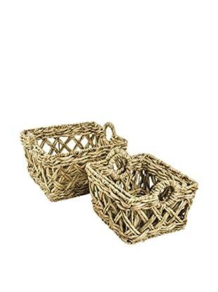 My Spirit Garden Set of 4 Water Hyacinth Entwined Baskets, Golden Wheat