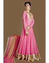 Georgette Embroidered Pink Semi Stitched Anarkali Suit-EBSK1271931169