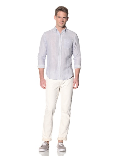 Barque Men's Variegated Pattern Button-Up Shirt (Blue)