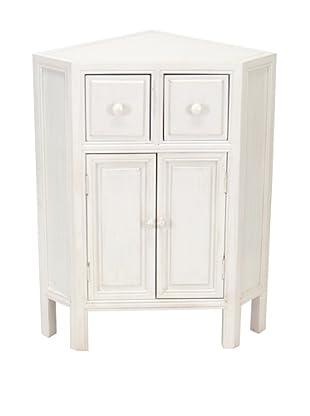 Charleston Suchow Corner Cabinet, Whitewash