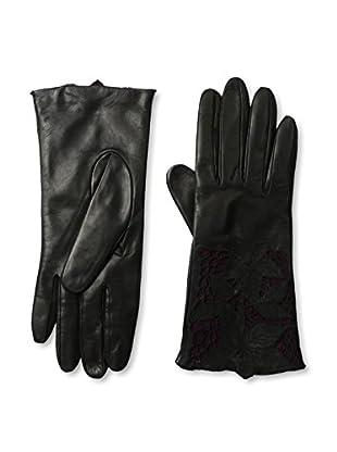 Portolano Women's Leather Gloves with Floral Laser Cut Cuff (Black/Bordeaux)