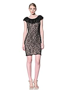 Muse Women's Ruffle Collar Dress with Lace Overlay (Black)