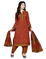 Salwar Studio Red & Yellow Cotton Dress Material with Dupatta SHIMAYAA-1209