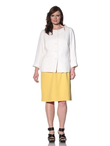 Z from Zenobia Women's Plus Collarless Tweed Jacket (White)