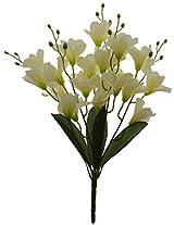 Fourwalls Artificial Dan Drum Fabric Flower Bouquet (43 cm, White)