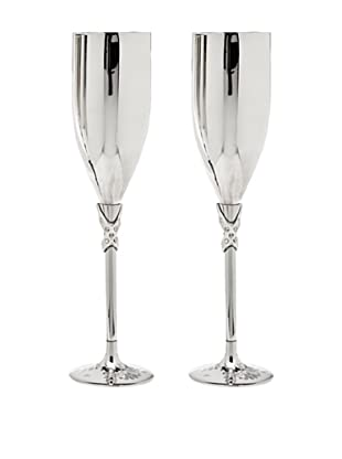 Godinger Set of 2 Satin & Stones Champagne Flutes