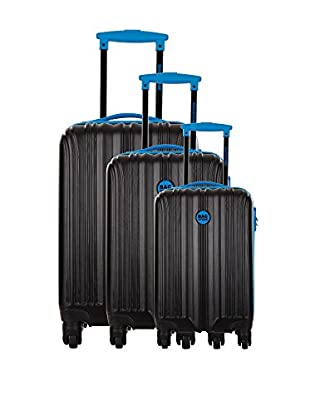 Bag Stone Set de 3 trolleys rígidos Night Negro / Azul