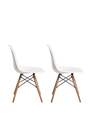 Euro Home Collection Set of 2 Paris Side Chairs, White/Black/Natural