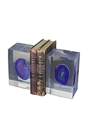 Couture Purple Agate Bookends, Natural Purple Agate/Clear