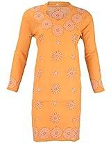 PR Chikans Women's Poly Cotton Kurti (Orange, XX-Large)