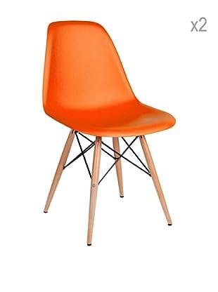 Lo+deModa Set De 2 Sillas Wooden Color Edition Naranja