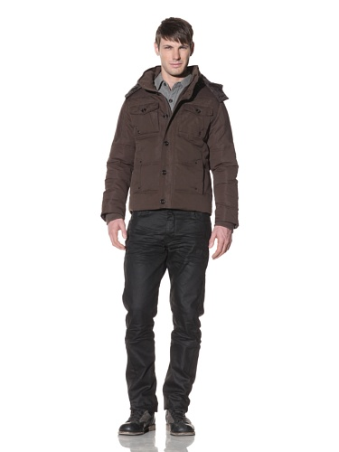 Projek Raw Men's Puffer Jacket with Removable Hood (Olive)