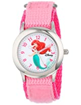 "Disney Kids' W000958 ""Ariel"" Stainless Steel Watch with Pink Nylon Band"
